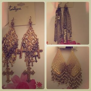 Forever Twenty One Earrings - Gold - 3 pair